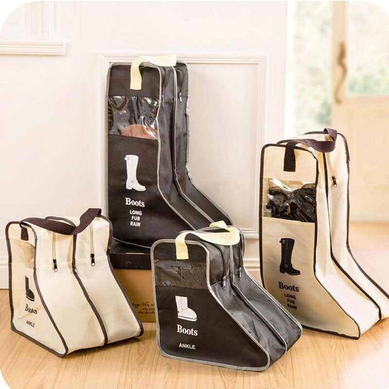 Portable Big Shoes Storage Bags Hanging Closet Cabin Shoe Cover Boots  Organizer Sack Bag With Zipper