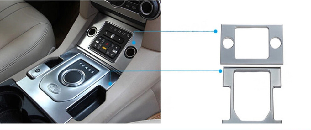 Car Styling!2pcs ABS Interior Cigarette Lighter panel+Hand Brake Panel Cover Trims For Land Rover LR4 Discovery 4 2010-2015