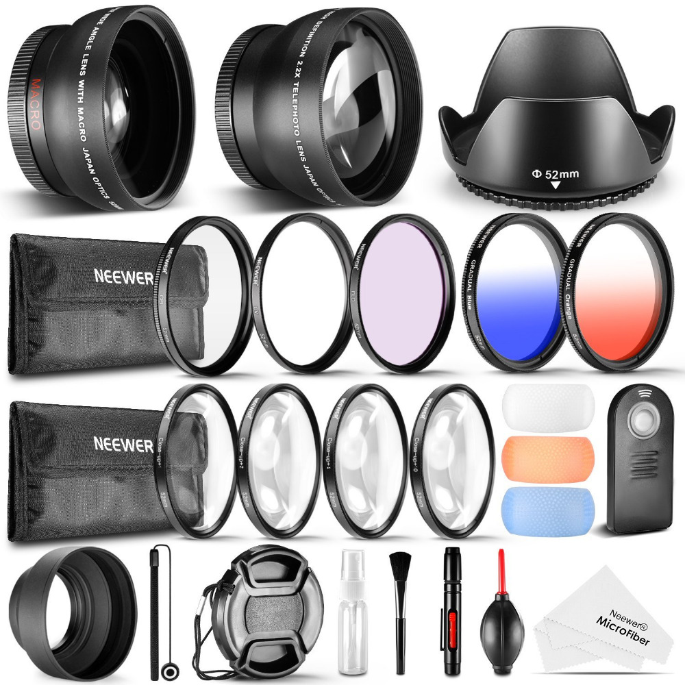 Neewer 52MM Accessory Cleaning Kit for Nikon D3300 D3200 D5300 Wide Angle Telephoto Lens UV CPL