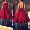 Vinho Vermelho Chá de Comprimento Vestidos de Noite Sexy Backless Formal Prom Dress 2016 Praça Neck Vestidos de Festa À Noite 2016 Vestido de Festa