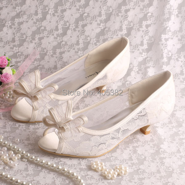 Cream Lace Low Heel Shoes