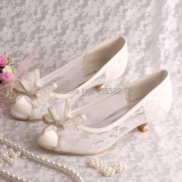 Wedopus Mw873 Custom Handmade 2016 New Women Cream Lace Low Heel Wedding Shoes Bride Bows