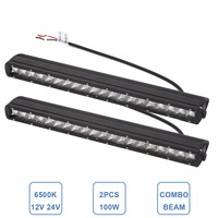2pcs Single Row Slim 23 100W Offroad LED Work Light Bar Bumper Headlight Driving Lamp SUV