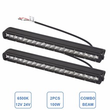 "2pcs Slim 21"" 100W Offroad LED Light Bar Bumper Headlight Car SUV ATV Car Boat 4×4 Cargo Truck 4WD Pickup 12V 24V Driving Lamp"