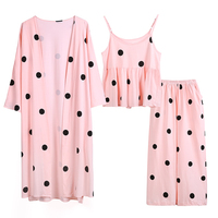 wave point of pure cotton home clothing Korean version of three sets of sweet sexy pajamas spring small fresh suit