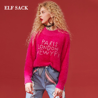 ELF SACK Winter New Warm Sweater Woman Full O Neck Short Red Sweater Women Letter Loose Femme Pullovers Oversized Female Sweater