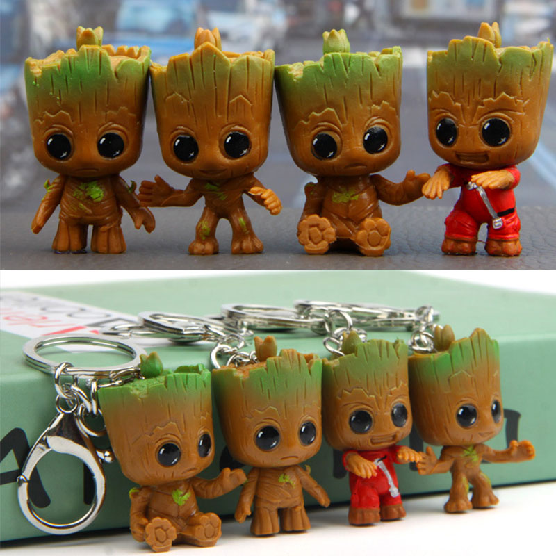 Guardians Galaxy Action Figure Baby Tree Man Car Decoration Toys Keychain Model Statue Red Tree Man Baby Figurine Keychain Toy