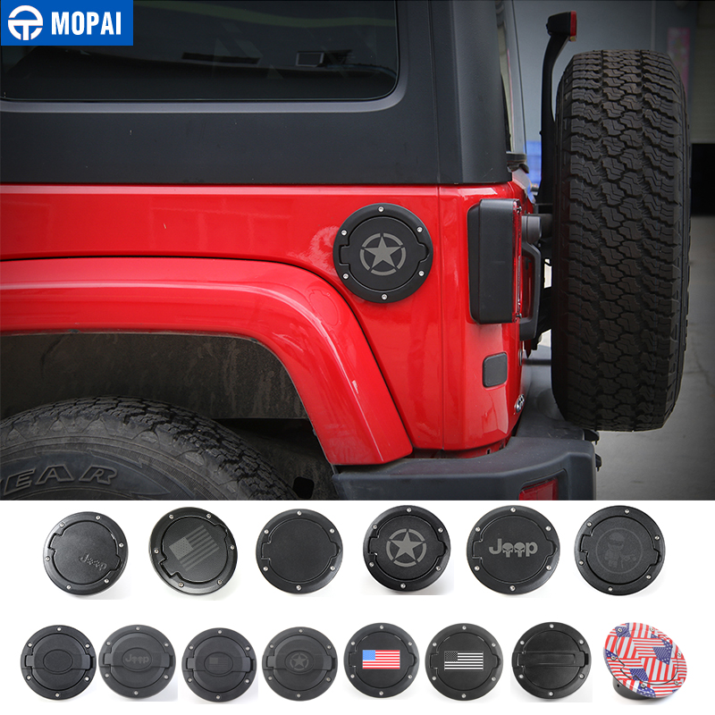 Jeep Gas Cap Cover for Jeep Wrangler Gas Tank Cover Satin Black Powder Coated Steel Fuel Filler Door Cover for Jeep Wrangler Accessories 2007-2017 JK /& Unlimited 4//2 Door Sport Rubicon Sahara