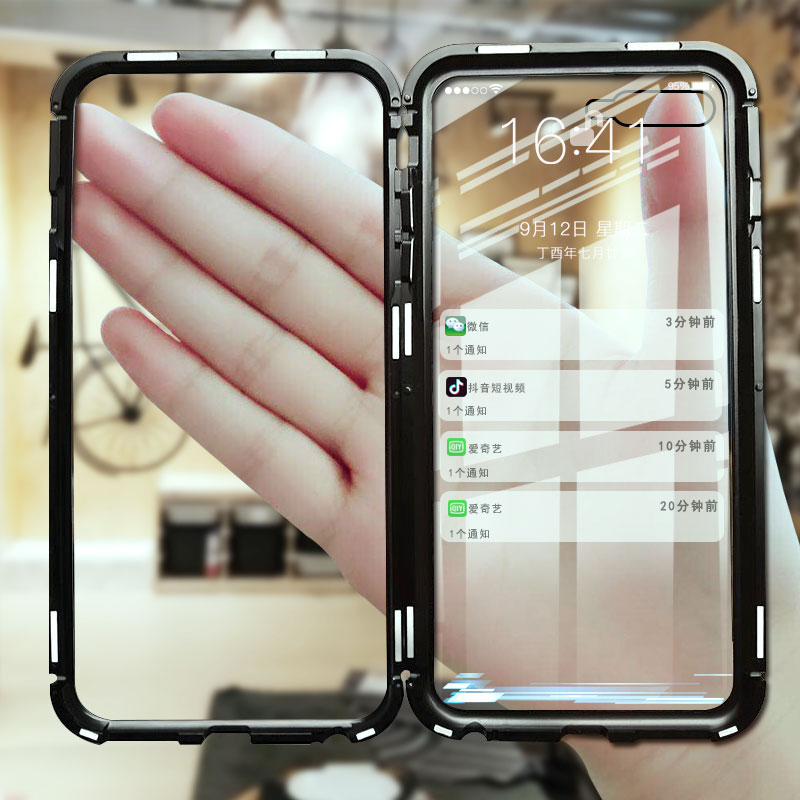 Luxury 360 Full Body Protective Magnetic Case For iPhone X XR XS Max Metal Flip 9H Glass Back Case For iPhone 8 7 6 6S Plus Case dispensador de cereal peru