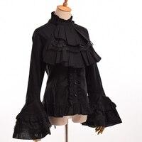 Black White Womens Vintage Gothic Steampunk Puff Sleeve Blouse Elegant Princess Empire Royal Lolita Waist Lace