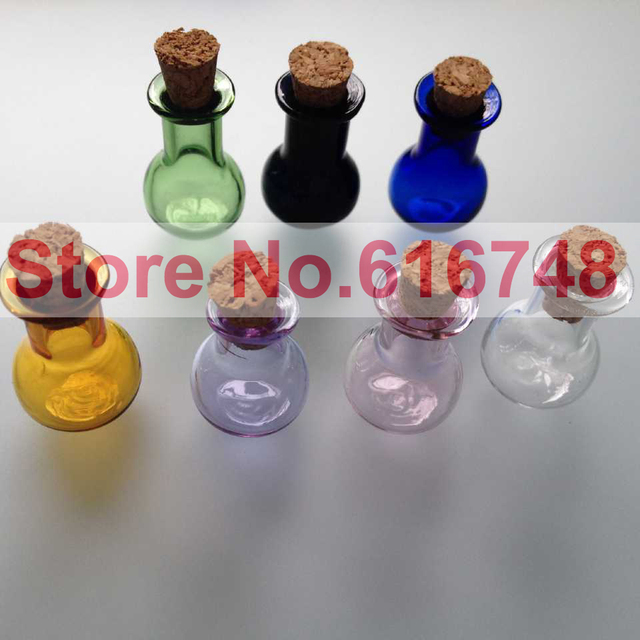 frees 2ml glass bottles with wood cork stoppers flat bottom bulb shaped bottle multi colored glass - Colored Glass Bottles