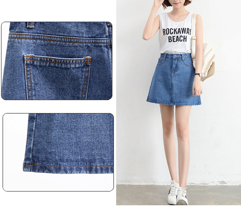Lucyever Fashion Korean Summer Women Denim Skirt High Waist Black Mini Skirts Package Hip Blue Jeans Harajuku Plus Size Cotton 9