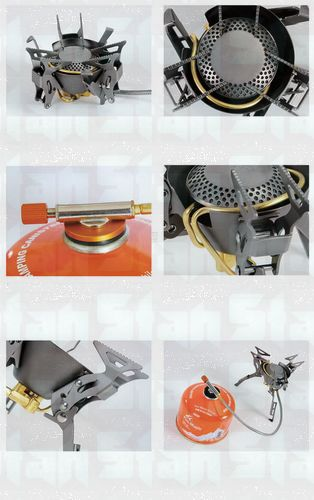 Titanium alloy Gas Stove Double-channel preheating Burner for High Altitude Camping Power 2450W Weight 199g