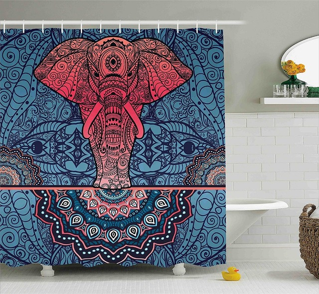 Indian Shower Curtain Ornamental Elephant Circles Spirals Infinity ...