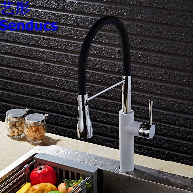 Livraison gratuite Senducs mélangeur de cuisine robinet d'évier de cuisine brossé et peinture blanche mélangeur d'eau de cuisine par robinet chaud froid