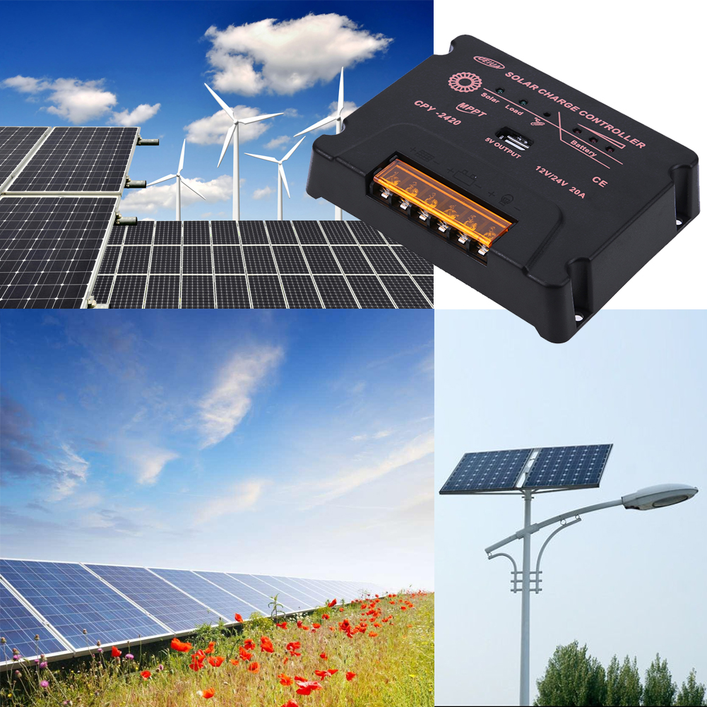 MPPT 10A/20A Solar Charge Controller 12/24V LCD Display Solar Regulator for Solar Panel Charger Charge/Discharge With USB output