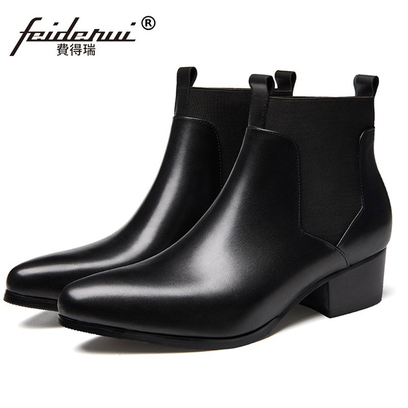 New Arrival Designer Man High Heels Chelsea Riding Shoes Genuine Leather Pointed Toe Mens Cowboy Wedding Ankle Boots SS280New Arrival Designer Man High Heels Chelsea Riding Shoes Genuine Leather Pointed Toe Mens Cowboy Wedding Ankle Boots SS280