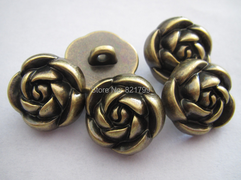 48L flowers ABS button antique brass for garment fashion plastic button 300 pcs