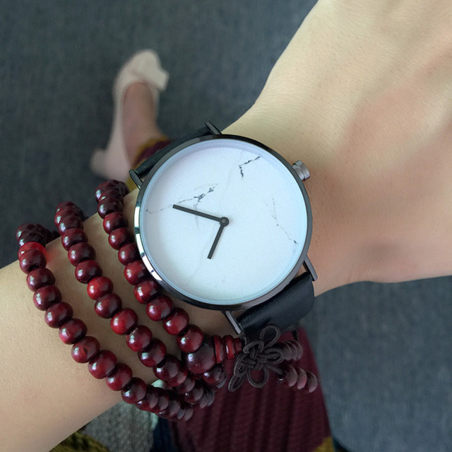 Dropship New Simple Style Marble Dial Women Watches Leather Men Watch Minimalist