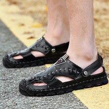 Новинка; пляжные вьетнамки; мужские летние повседневные кожаные сандалии; дышащая пляжная обувь; pantoufles homme; Прямая поставка;# BY30