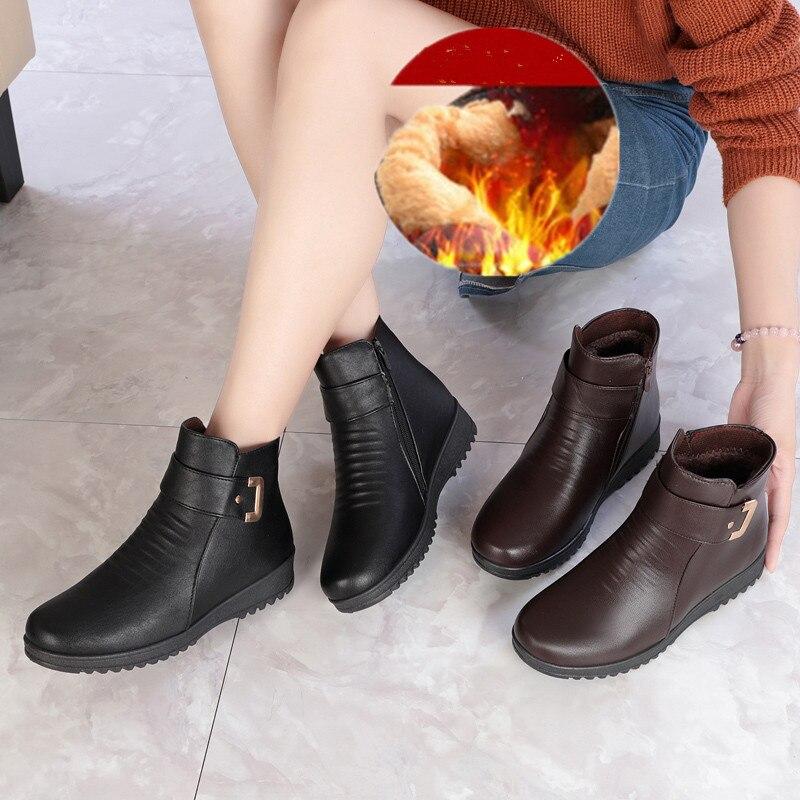 Zzpohe Zapatos Antideslizante 2018 Cuñas Madre brown Suave Invierno Nieve  De Botines Caliente Cuero Mujer Black Botas Felpa TwTU47qWrc 6571fab172a0