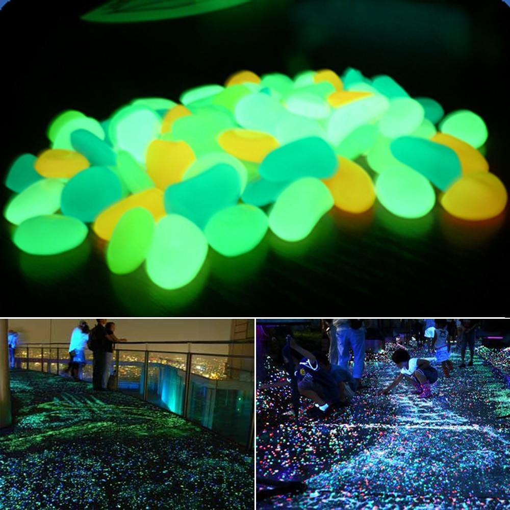 10 Pcs Glow In The Dark Luminous Pebbles Stones For