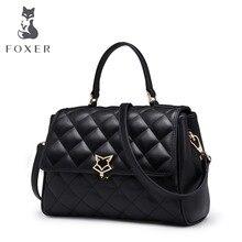 FOXER Brand Women Leather Shoulder Bags & Crossbody long strap Bags New Trend Rhombohedral Ladies Flap Bags Women-bag