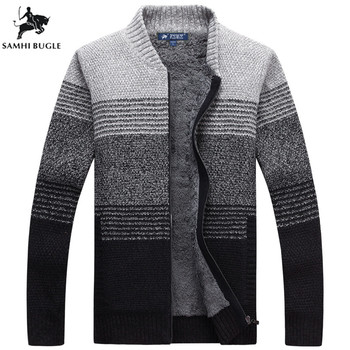 Winter Warm Sweater Men 2019 Mens Thick Wool Cardigan Sweater Mens Cardigan Brand Clothing Striped Pull Homme Knitwear Clothing фото