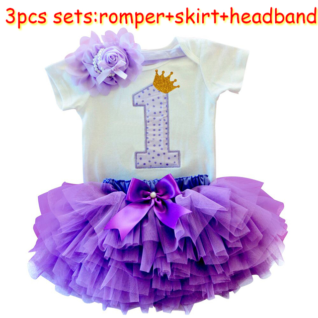 a1340f318 Baby Girl Clothes Sets Baby Rompers Skirt Headband First Birthday Outfits  Suits for 1 Year Bebes