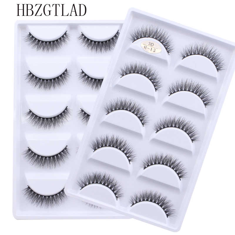 NEW 5 pairs Handmade 3d mink lashes short False Eyelashes Cross Messy Dense Natural Eye Lashes Stage Makeup False Eyelashes