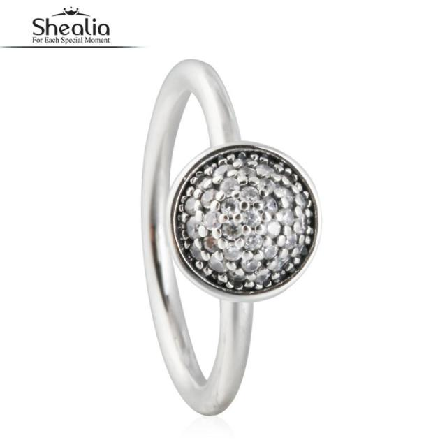 SHEALIA Clear CZ Diamond Dazzling Droplet Rings For Women 925 Sterling Silver Zircon Pave Water Drop Engagement Ring With Logo