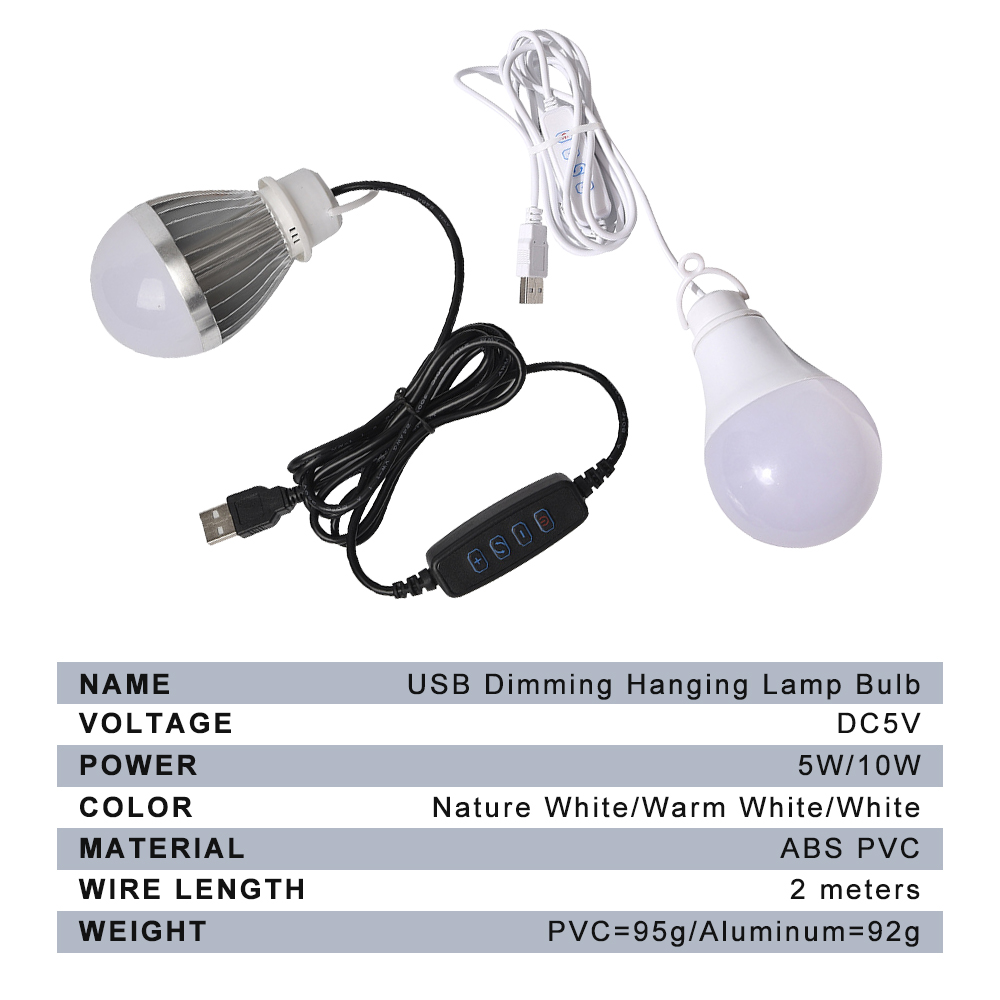 Купить с кэшбэком DC5V LED Light Bulb Stepless Dimming With ON/OFF Switch 10W USB Dimmable Hanging Lamp Emergency LED Bulbs For Nightwork Camping
