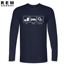 New Fashion T Shirts Eat Sleep Engineer Long sleeve Tshirts Cotton Engineering Career Occupation Funny Technology T-shirts
