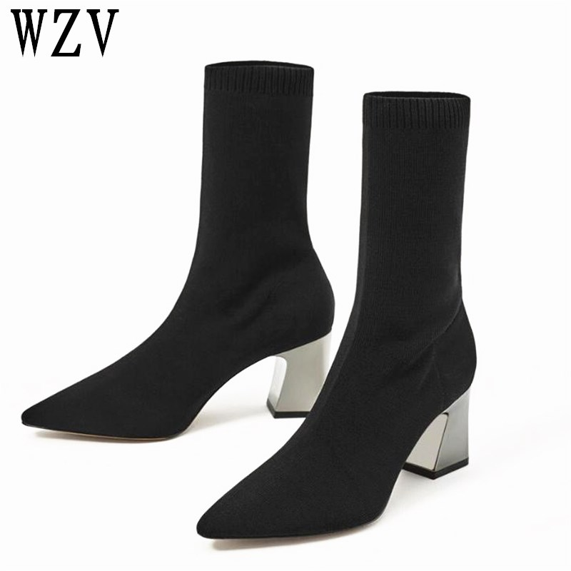 2018 Fashion Ankle Elastic Sock Boots Chunky High Heels Stretch Women Autumn Sexy Booties Pointed Toe Women Pump Size 40 F113 zorssar fashion ankle elastic sock boots chunky high heels stretch women autumn winter sexy booties women ankle boots size 43
