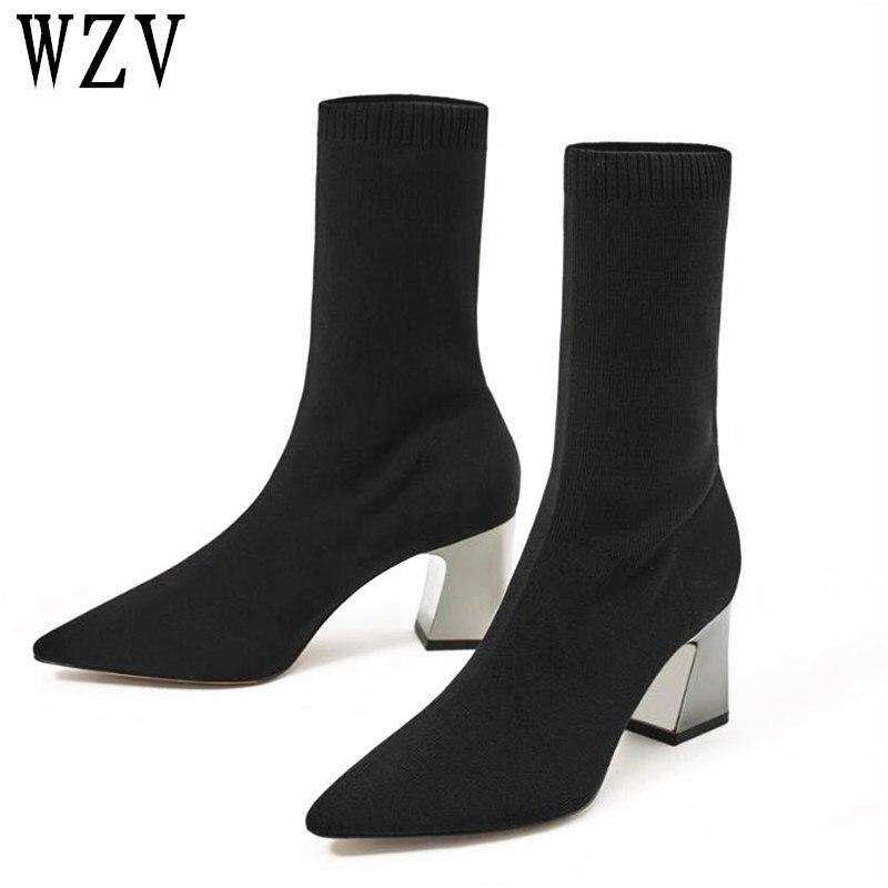 2018 de moda tobillo elástico calcetines botas de tacón alto y grueso estirar las mujeres otoño Sexy zapatos de dedo del pie de las mujeres de tamaño 40 F113