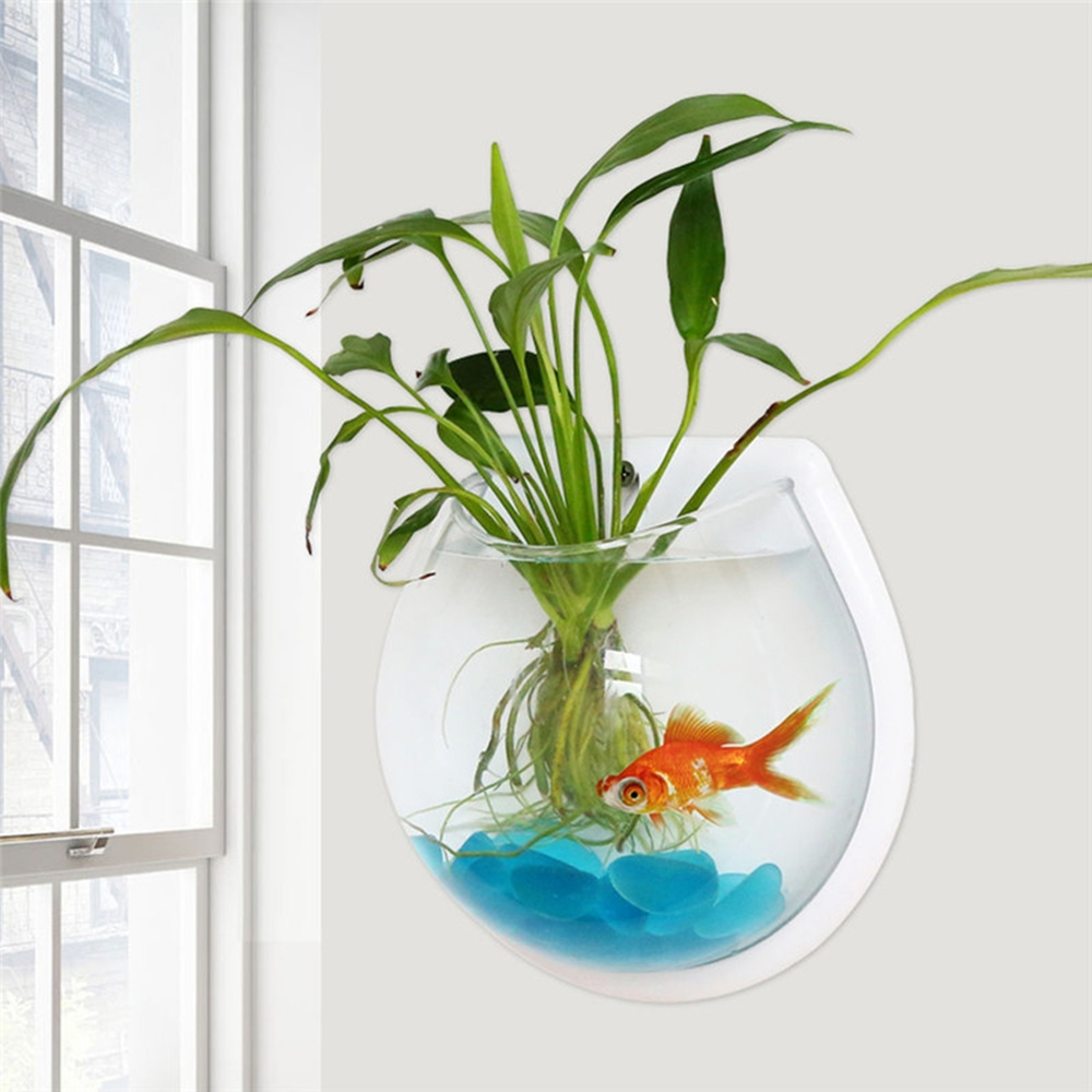 New Transparent Plant Wall Mounted Hanging Fish Tank Flower <font><b>Round</b></font> Vase Pot Acrylic Bowl Bubble <font><b>Aquarium</b></font> Home Decoration 2 Sizes image