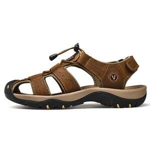 ZUNYU 2019 جديد الذكور أحذية جلد أصلي للرجال الصنادل الصيف حذاء رجالي صنادل شاطئ رجل أزياء في الهواء الطلق أحذية رياضية كاجوال حجم 48
