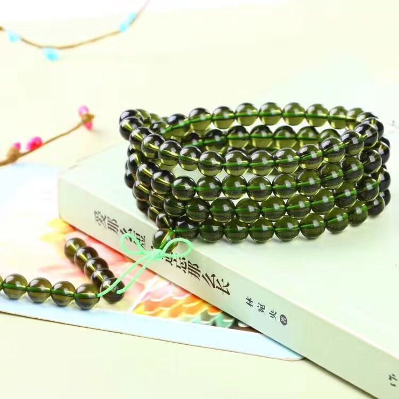 Natural Quality Goods Czekh Meteorite Bracelet Hand String Glass Green Meteorite 108 A Beads Fund Multi-storey Bracelet 8mm