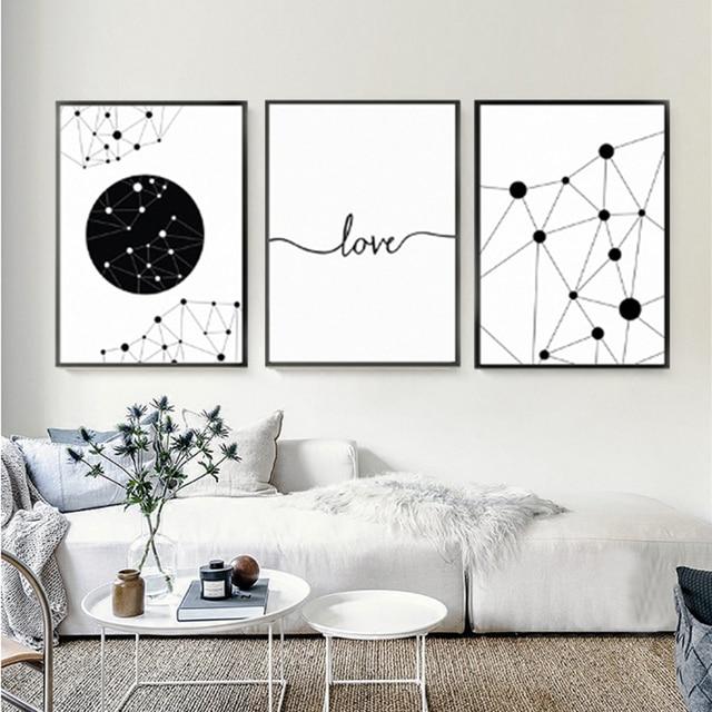 Minimalist Poster Geometric Love Canvas Painting Black And