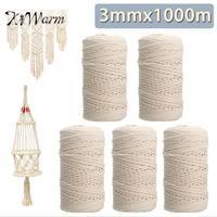 Kiwarm 3mmx1000m Natural Beige White Cotton Twisted Cord Rope DIY Craft Macrame String Handmade Decorative Accessories