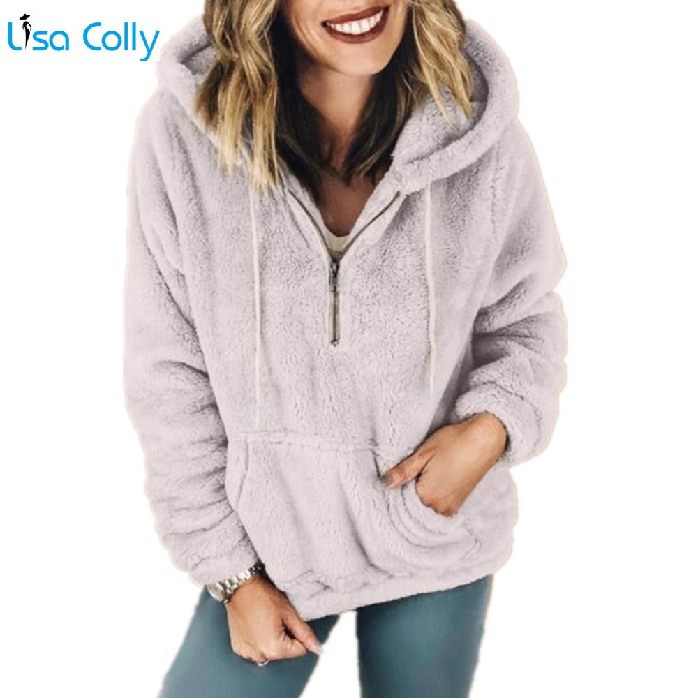 Lisa Colly Women Autumn Winter Solid Jacket Coat with Hooded Womens Long Sleeves Pocket Warm Coat Overcoat Female Basic Jacket