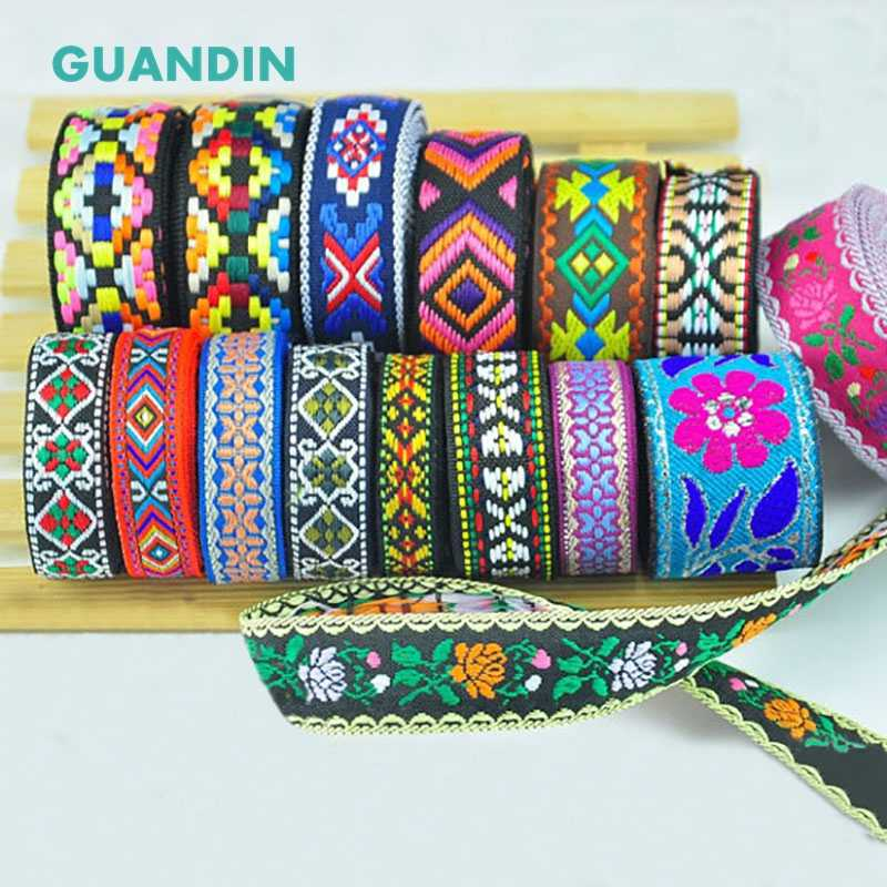 GUANDIN,Lace Accessories Color Ethnic Wind Ribbon Lace Lace Hand Embroidery Curtain Clothing Lace Craft&Gift Packing/1pcs/1yard