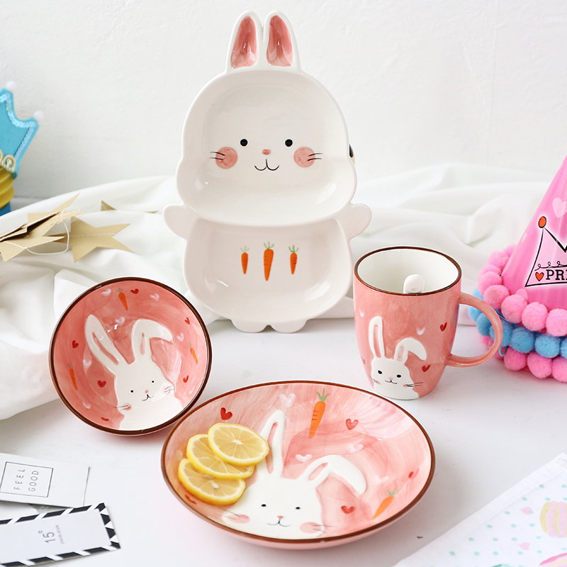 1pc Animal Zoo Dinner Plate Rabbit Bowl Mug Dinnerware Ceramic Porcelain Baby Children Tableware Bear Feeding Dish