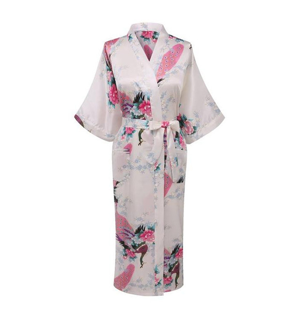 White Sexy Chinese Women Silk Rayon Robe Wedding Bridesmaid Sleepwear  V-Neck Kimono Bath Gown 1d0051be5