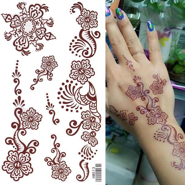 Raja Kuda Coklat Bunga Kupu Kupu Tato Henna India Gaya Tahan Air