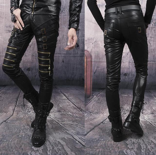 8927f5d0 Black red white personality fashion mens motorcycle leather pants punk slim pant  mens feet trousers multi-zipper pantalon homme