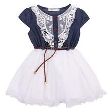 ac0ef01dc Pudcoco detalles sobre moda niñas princesa Flor de encaje Denim Tulle manga  corta Denim patchwork cinturón vestido de verano