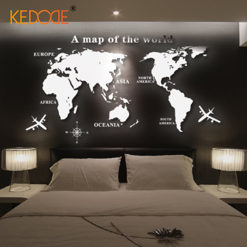 3D acrylic mirror wall stereo meeting room office living room became the world map decorative stickers