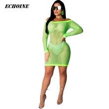 5179f22ea4bf3 Yaz Kadın Seksi Hollow Out Fishnet Mini Elbise Uzun Kollu Off-omuz Mesh  Clubwear Şeffaf Kıyafet Parti Vestidos Yeşil