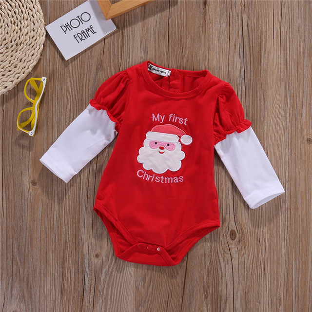 6c2389610 My First Christmas Santa Claus Embroidere Bodysuit Xmas Clothes Wear ...